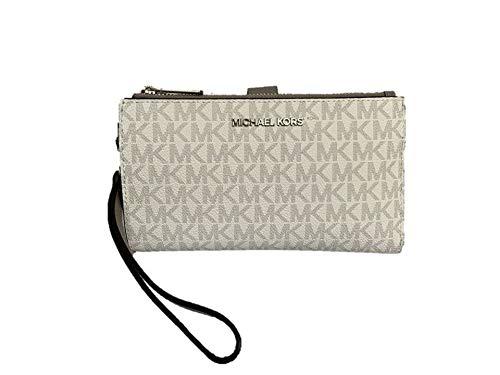 Michael Kors Signature Bright White Double Zip Phone Case Wallet Wristlet 35F8STVW0B-119