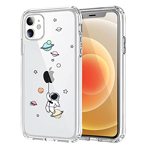 NITITOP Compatible with iPhone 12 / iPhone 12 Pro Case Clear Cute with Astronaut Outer Space Planet Star Creative Pattern,for Girls Boys Soft TPU Shockproof Slim for iPhone 12/12 Pro-Balloon