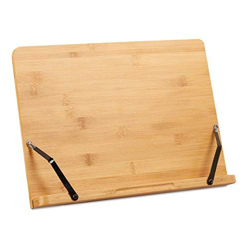 Relaxdays Buchständer, Kochbuchhalter aus Bambus, verstellbar, 5 Stufen, klappbarer Leseständer, HBT 24x34x21 cm, natur