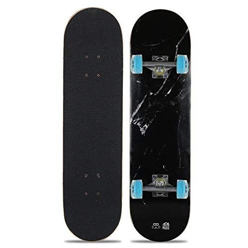 qiaoke Skateboard Erwachsene, Flash Wheel Skateboard für Erwachsene Silent Chrome Steel mit dickem Ahorndeck für...