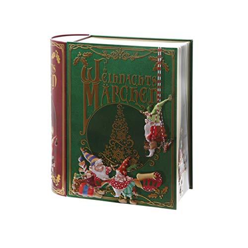 POWERHAUS24 Blechdose Weihnachtsmärchen-Buch für Plätzchen & Co, lebensmittelecht, 24,5 x 21 cm, Weihnachts-Edition mit PH24 Backrezept