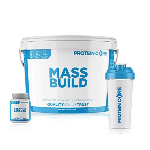 Mass Build 4KG Bundle Protein Weight Gain Shake + Creatine Tablets + Shaker Muscle Gainer Builder (Strawberry)
