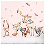 Little Deco Wandtattoo Waldtiere mit Sternen & Federn I L - 143 x 92 cm (BxH) I REH Wandaufkleber Sticker Mädchen Wandsticker Kinderzimmer Deko Aufkleber DL488