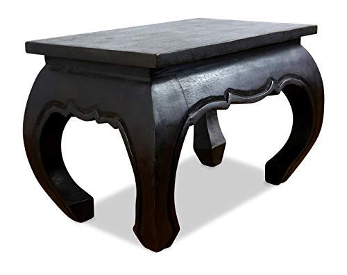 livasia Opiumtisch aus Massivholz, Beistelltisch, Holztisch, Nachttisch, Couchtisch (schwarz)