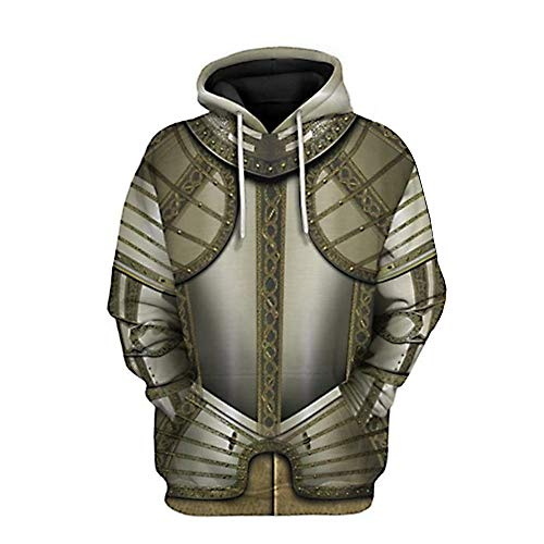SUOLA 3D Printed Pullover Hoodie Hooded Sweatshirt for Historical Figure Medieval Knight Cosplay Costume, Knights Armor, Large