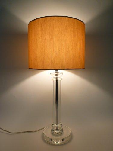 Kristall-Tischleuchte mit LED Leuchtmittel, Lampe mit Kristallfuß und Seiden-Stoffschirm, Kristallleuchte Tischlampe (klar-Gold, Dora 51 cm)