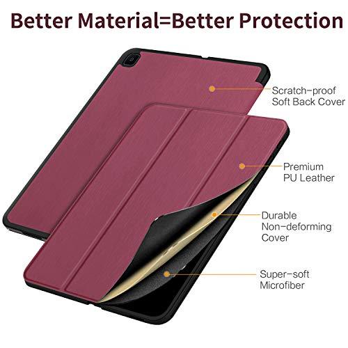 EasyAcc Hülle Kompatibel mit Samsung Galaxy Tab S6 Lite 2020 10.4 Zoll SM-P610N P615N mit Panzerglas - Ultra Dünn mit Standfunktion Slim PU Leder Schutzhülle, Zwetschgen Purpur