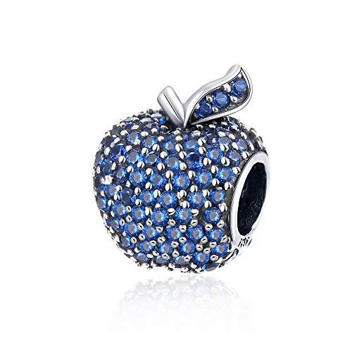 Hmilydyk - Ciondolo a forma di mela, in argento Sterling, con cristalli Swarovski e zirconia cubica, compatibile con braccialetti Pandora ed europei e Argento, colore: Blu, cod. GUPDRSVP016-A