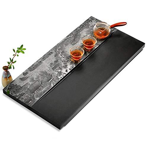 Read About Tea tray Chinese Kung Fu tea tray Wujinshi black tea tray natural simple stone tea tray Kung Fu tea gap tea tray Japanese rectangular tea tray (Size : 60x30x3cm)