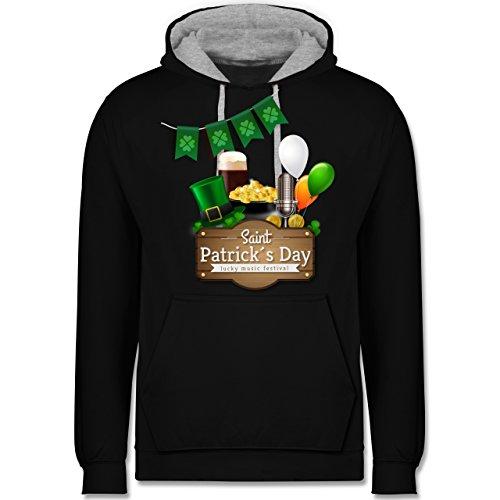 St. Patricks Day - Saint Patrick's Day Happy Music Festival - XS - Schwarz/Grau meliert - Bier - JH003 - Hoodie zweifarbig und Kapuzenpullover für Herren und Damen