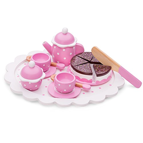New Classic Toys Coffee/Tea Set with Cutting Cake, Colore Rosa, 5 Pezzi, 10620