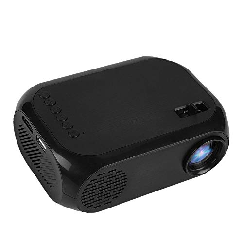 ASHATA Mini Video Projector, 2inches Home LED Projector 2000 Lumens,Mini Portable Multi-Functional Projector Support TF SD Card U Disk USB HD HDMI,110-240V Home Theater Projector (Black)