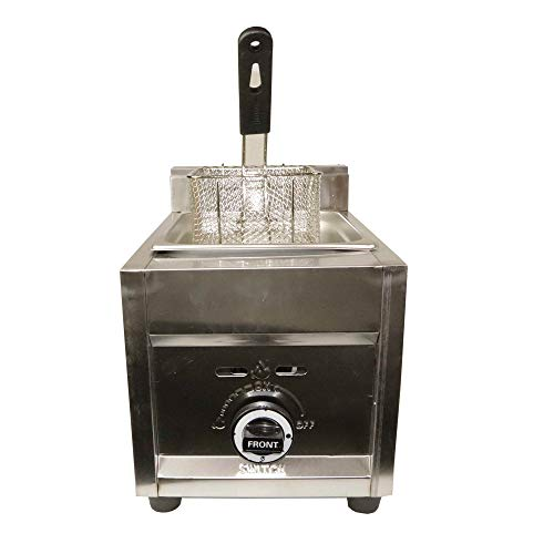 """12"""" Commercial Stainless Steel 15 lb. Countertop Propane Deep Fryer, Single 3.5 Gallon Capacity Compartment…"""