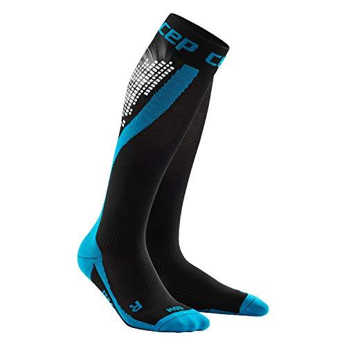 CEP NIGHTTECH Socks voor dames, lange loopsokken met reflecterende strepen, blauw, maat IV