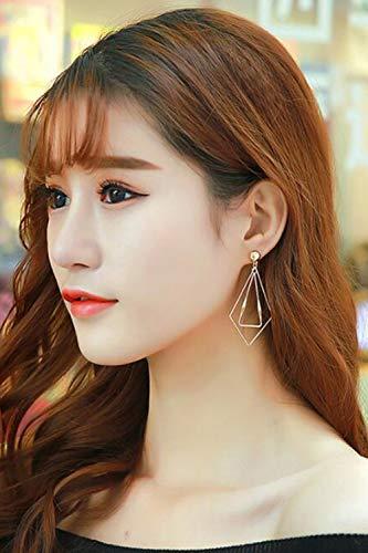 Chargances Bohemia Women Dangle Diamond Earrings Metal Triangle Danlge Drop Earrings For Women Costume Jewelry Geometric Lightweight Statement Earrings Teardrop Dangle Earrings for Women Girl (silver)