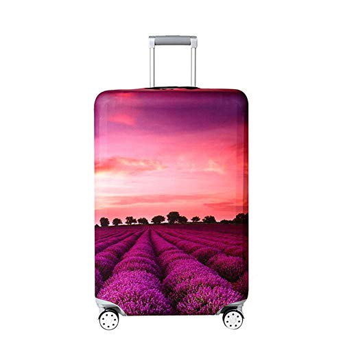 Read About Vaskey Suitcase Protective Cover with Zipper Romantic Lavender Pattern Elastic Washable L...