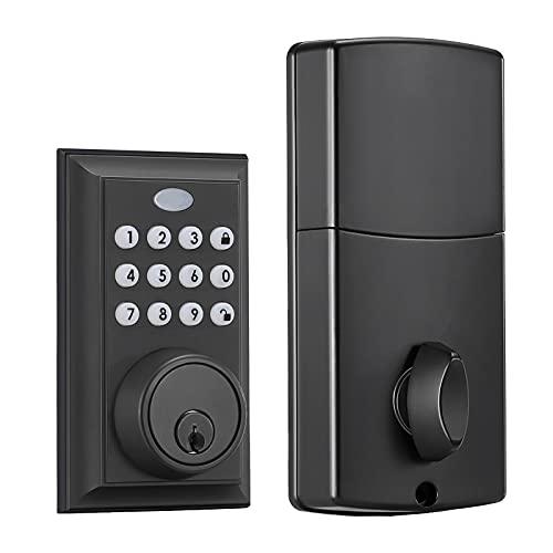 Keyless Entry Deadbolt Lock, Electronic Keypad Door Lock, Auto Lock,Matte Black-D1