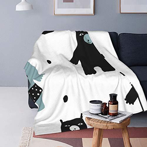 Stock Vector Divertido patrón sin costuras con bonitos osos adultos de plumón de cordero mantas de microfibra para cuatro estaciones, mullida manta para adolescentes es adecuada para cama o sofá
