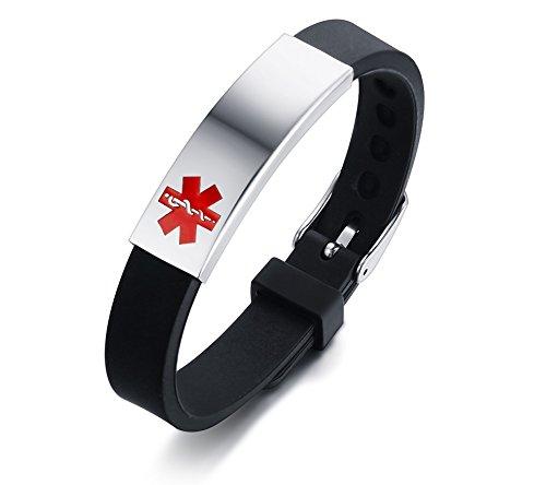 VNOX Personalización de Acero Inoxidable Personalizada Identificación de Alerta médica Pulsera de Silicona Ajustable, grabada Gratis