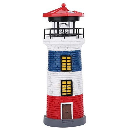 Belissy LED Solar Power Lighthouse Statue Rotating Outdoor Light Garden Yard Lawn Craft Ornament(Red+Blue+White)