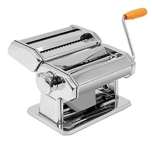 Máquina para Hacer Pasta Fresca Fabricante de Fideos o Tallarines de Acero 3 en 1 Manual con Manivela para 6 Grosores de Pasta