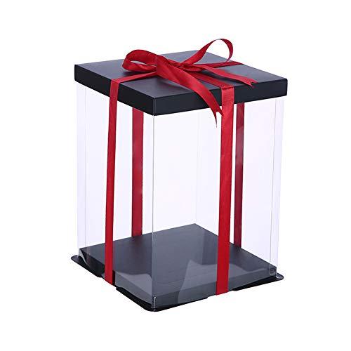 Beautiful Pine - Organizador de plástico con Caja de Regalo Transparente con Tapa y Base Negras, para Caja de Recuerdos con Flores de Rosas y Flores