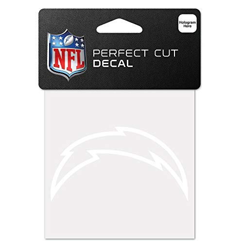 WinCraft NFL Los Angeles Chargers 4x4 Perfect Cut White Decal, One Size, Team Color