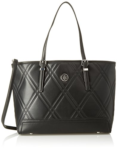 Tommy Hilfiger Honey Med Tote Quilted, Bolso para Mujer, Negro (Black), 14x27x40 cm