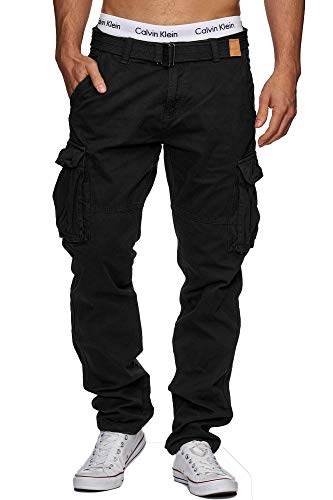 Indicode Herren William Cargohose aus Baumwolle m. 7 Taschen inkl. Gürtel | Lange Regular Fit Cargo Hose Baumwollhose Freizeithose Wanderhose Trekkinghose Outdoorhose für Männer Black 3XL