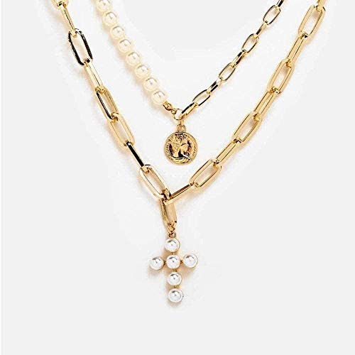 zhuangpuxu Collar Bohemia Gold Moon Pearl Collares Pendientes para Mujer Collar Largo Vintage Regalo de joyería