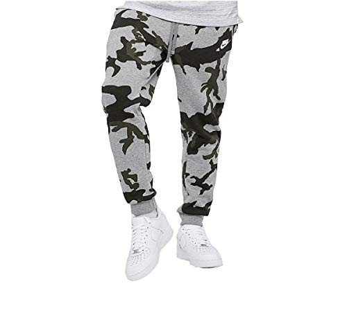 Nike Herren Hosen Mens Club Fleece Jog Pant Camo Track Pant Cuffed Tracksuit Bottoms Grey New AH7020 (Small)