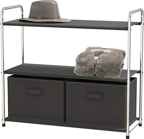 Simple Houseware 3-Tier Closet Storage with 2 Drawers Dark Grey
