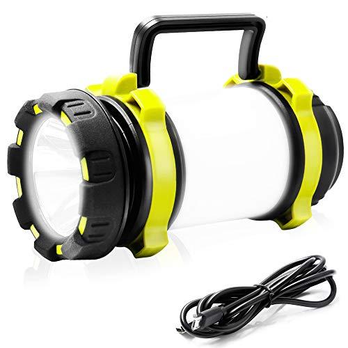 UYIKOO Lampada da Campeggio LED 4 in 1 Funzione,Ricaricabile USB LED Luce Portatile Impermeabile Torcia Elettrica da Campeggio, Pesca, Trekking, Emergenze,Interruzione di Corrente ECC.