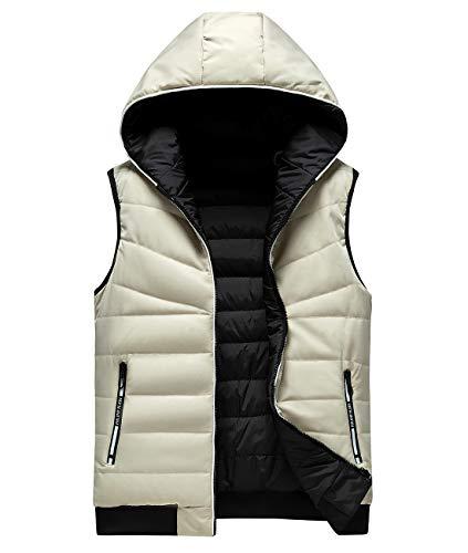 FEOYA Herren Winter Weste Steppweste Jungen Ärmellose Jacke Jacket mit Kapuze Übergangsjacke Bodywarmer Funktionsweste Sportweste Kapuzenweste-Weiß-M