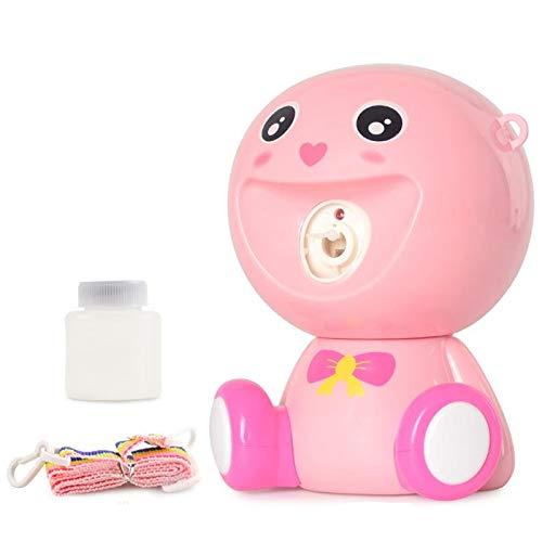 Domilay Rosado-Children Cartoon Bubble Machine Luces Colgantes Music Electric Bubble Machine One-Key Bubble