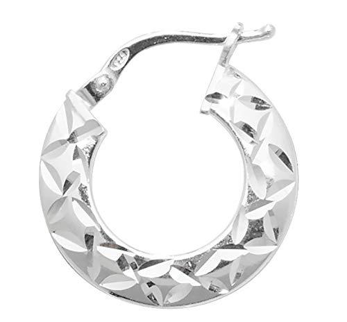 Pendientes de aro de plata de ley auténtica de 10 mm con corte de diamante