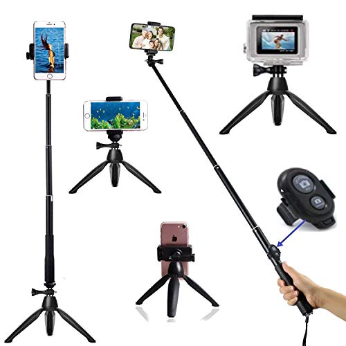 HONGYUE - Trípode para selfie (40 pulgadas, con mando a distancia Bluetooth, compatible con cámaras digitales GoPro Hero Fusion/Session / GOPRO Hero/Action y iPhone/Samsung/Huawei
