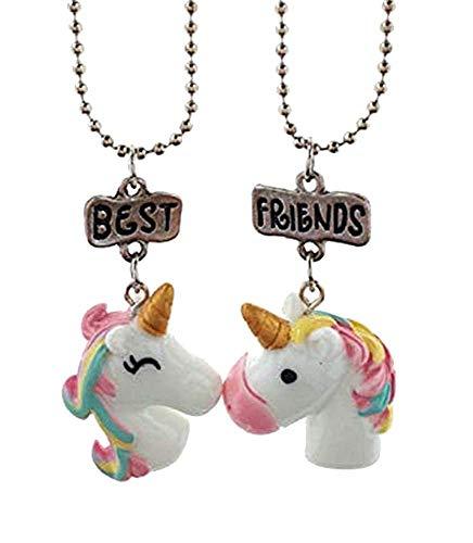Twee kettingen - meisje - eenhoorn - beste vrienden - bff - meisjes - hanger - schrijven - roze - lichtblauw - cadeau-idee - verjaardag - kerstmis