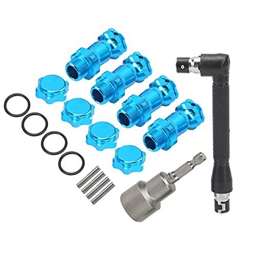 Tissting Adaptador de Cubo Hexagonal RC de aleación de Aluminio de 17 mm Adaptador de Cubo Hexagonal de Rueda de Coche con Control Remoto Equipado con Llave de Tubo para 1/8 RC(Azul)