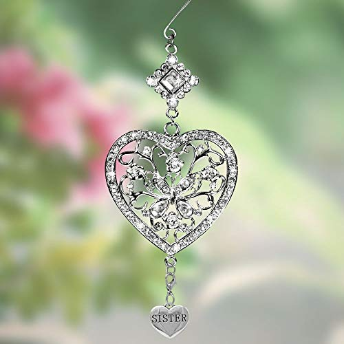 Best Sister - Jeweled Heart and Butterfly Hanging Sis Ornament- Silver Filigree and Jewel Heart Design Ornament with Heart Sister Charm- Special Ornament Gifts for Her- Sister Gifts from Sister