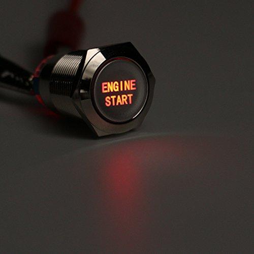 C-FUNN 12V 19 Mm Étanche Voiture Auto Métal Momentanée Démarrage du Moteur Bouton-Poussoir LED-Rouge