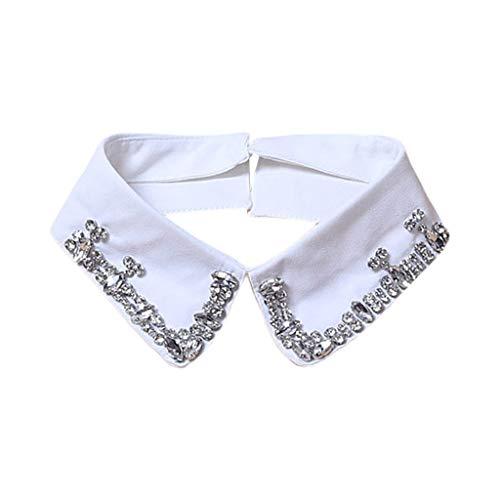Yushu Collar de solapa desmontable de color negro con diamantes de cristal para mujer, cuello falso desmontable para niñas y señoras