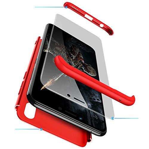 TXLING Funda Xiaomi Redmi Note 6 Pro Bumper 3 en 1 Estructura 360 Grados Case Ultra-Delgado Anti-rasguños Carcasa para Xiaomi Redmi Note 6 Pro Rojo + Cristal Templado