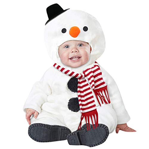 LHWY Disfraz Navidad Mameluco con Capucha Caricatura Muñeco de Nieve + Bufanda Mono Peleles para Niños Niñas Bebé Calentito Manga Larga Saco de Dormir Sudadera Durmiendo Cómodo Blanco 100