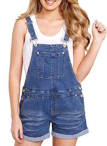 Happy Sailed Damen Kurz Jeanslatzhose Denim Overall Jumpsuit Playsuit Jeans Hosenanzug Romper S-XXL, 3 Blau, Small(EU36-38)