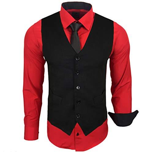 Rusty Neal Herren Hemd mit Weste Krawatte Anzugs Sakko Business Hochzeit Freizeit Hemden Set wählbar RN-44-HWK, Größe:XL, Farbe:Rot