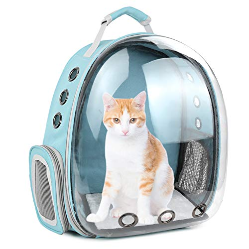 Cat Backpack Carrier Bubble,Large Transparent Pet Backpack Bag,Portable Ventilated Carry Backpack for Cat & Small Dog,Airline Approved Waterproof Pet Carrier Bag for Hiking Outdoor Use (Blue-1)