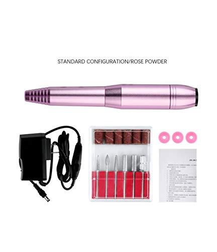 Elektrische manicure-set, pen, nagelboor, pedicureset, draagbaar, oplaadbaar, polijstmachine, multifunctioneel, voor nagels, kunstuitrusting voor het gladstrijken en roze
