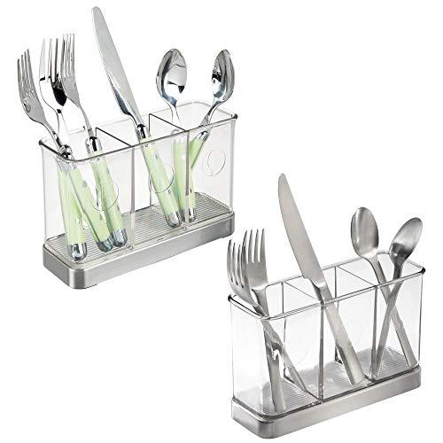 mDesign Cesta organizadora para utensilios de cocina – Cesta de plástico y acero inoxidable – Organizador de cocina elegante para cucharas, cuchillos, tenedores, etc. – transparente/plateado mate