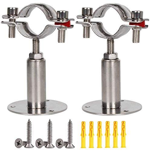 GOLRISEN 2 Stück Rohrschellen Verstellbar Rohrhalterung Edelstahl Rohrhalterungen Rohrbefestigung Rohrschelle mit 6 Schrauben 6 Expansionsschraube für Deckenmontage Rohre Durchmesser von 25-28 mm